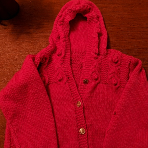 Other - Girls hand-knitted, pink, hooded, cardigan/ jacket